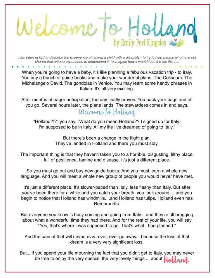 Welcome to Holland   Poem by Emily Kingsley   Williams Syndrome Awareness