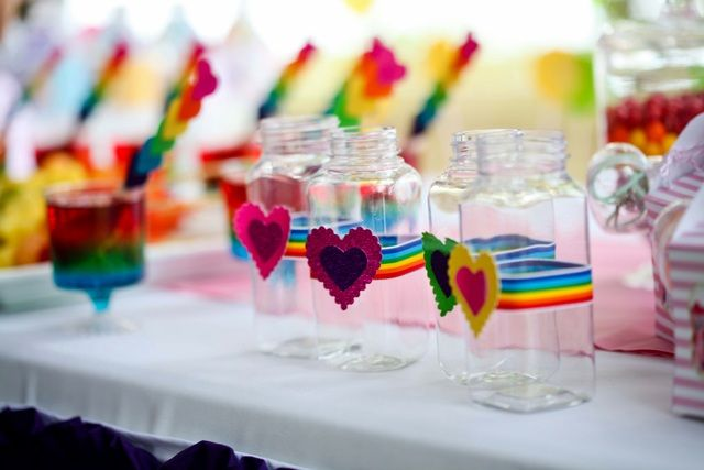 Beautiful drinks at a My Little Pony Rainbow girl birthday party!  See more party ideas at CatchMyParty.com!