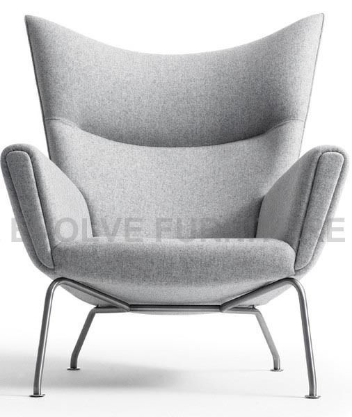 Replica hans wegner wing chair ottoman light grey for Special chair design