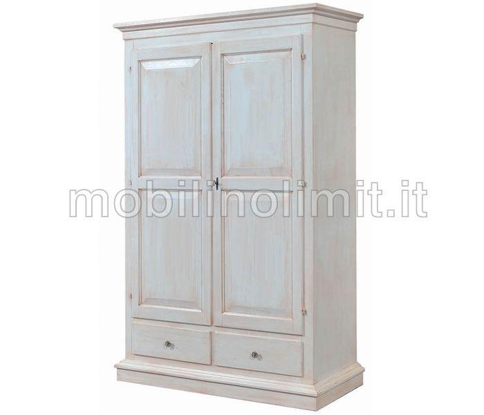 Armadio Cappello Dritto - Bianco Decapato.  Armadio in stile shabby chic  L 125 cm x P 61 cm x H 200 cm