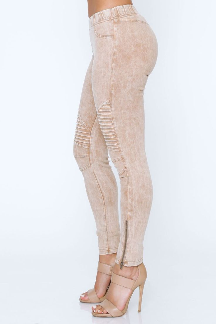 Shop Fashion Therapy. Nude biker leggings, Khaki biker leggings