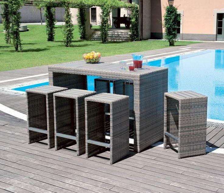 bar de jardin avec mobilier en résine