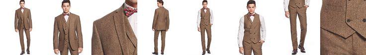 Bar III Brown Tweed Vested Slim-Fit Suit Separates