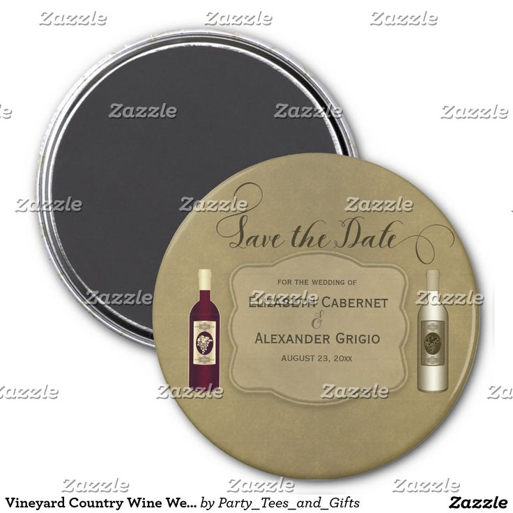 Vineyard Country Wine Wedding Save The Date Magnet This personalized wine themed wedding Save The Date design features a dark red wine and a white wine bottle with grapes, maroon text and a brown -tan background. Great for a winery, wine, vineyard or wine lovers wedding