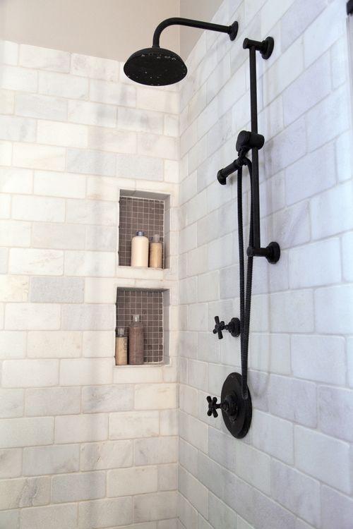 Master bathroom remodel, shower, shampoo niche | Interior designer: Carla Aston - Photographer: Tori Aston