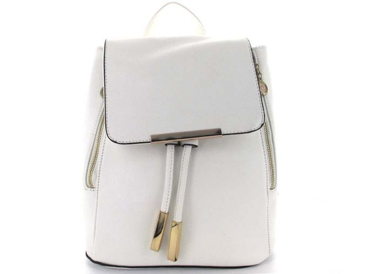 White Bucket Backpack with Drawstring Closure - An expandable bucket-style backpack with a magnetic snap and drawstring closure, keeping items safe and secure. The straps are adjustable to fit any style - wear it slung over one shoulder, over both shoulders, or carry it as a handbag using the top handle.   Available in; Black and White.