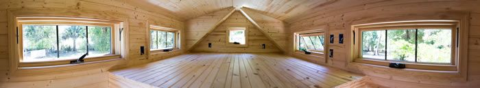 Wide angle view of the loft space in the Tinier home.