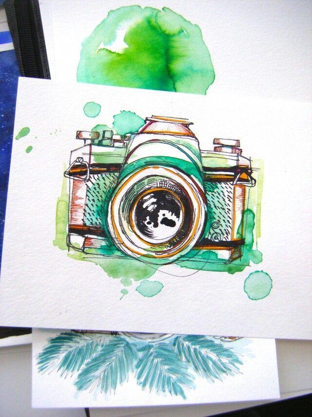 Tumblr Camera Art Watercolor Art