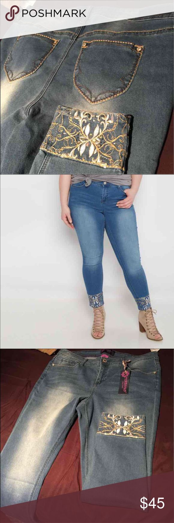 Size 18 plus size jeans This stunning skinny jean is fashioned with a sandblasted wash and whiskering. The cuffs are decked out with beautiful vintage inspired embroidery and shimmering stones for a flawless finish. Mid rise. Fitted through leg. Nwt Hydraulic Jeans Skinny