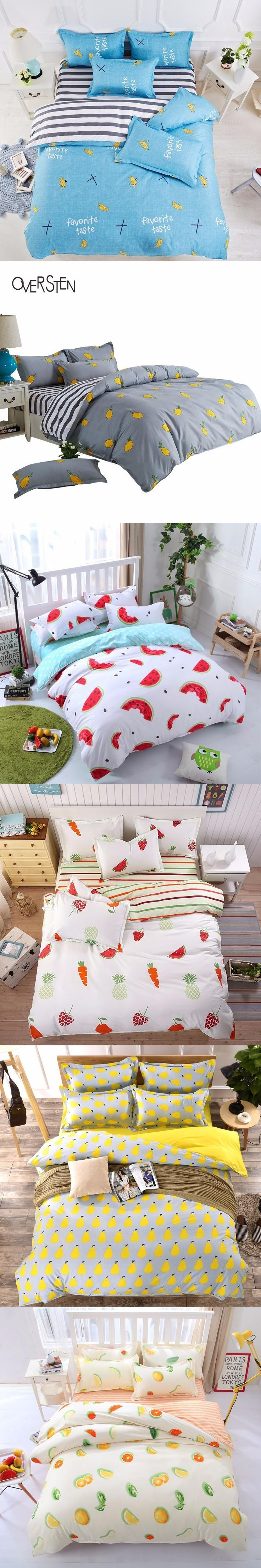OVERSTEN Dobby Style Double Single Bedding Set Twin Queen King Size Duvet Cover Set Fruits Pattern Bedding Kit Bed Linen