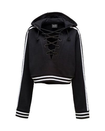 W0GNB FENTY PUMA by Rihanna Lace-Up Hoodie Sweatshirt, Puma Black