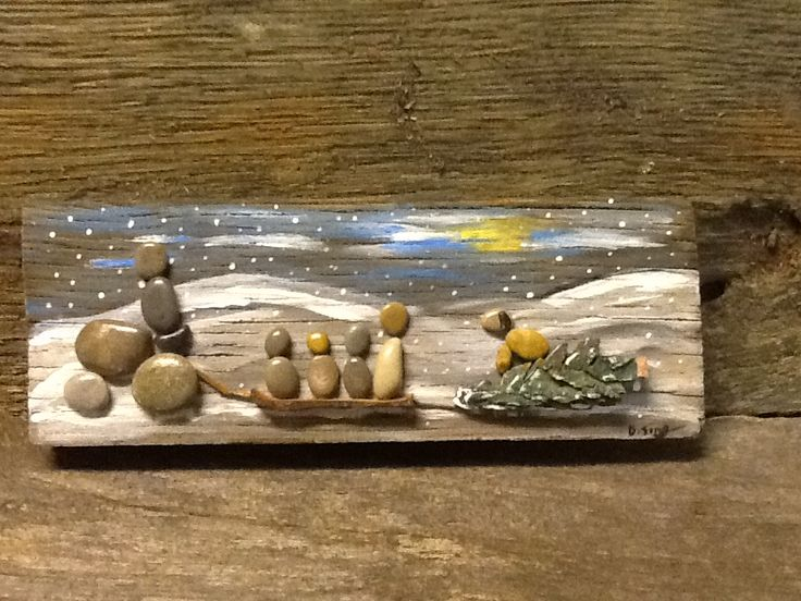 "Pebble art ""Bringing in the Christmas tree"" www.sticksnstonesart.ca"