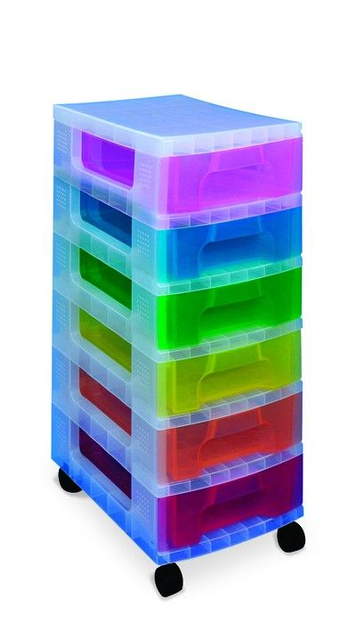 Clear Tower Unit, multicoloured drawers