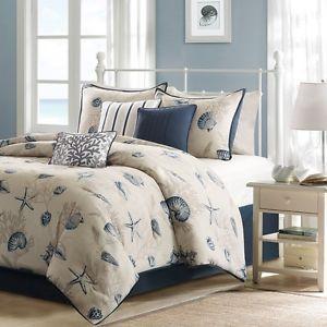 Seashell Bedding | ... Coastal Seashell Blue Ivory 7 Pc King Comforter Set Bedroom Pillows
