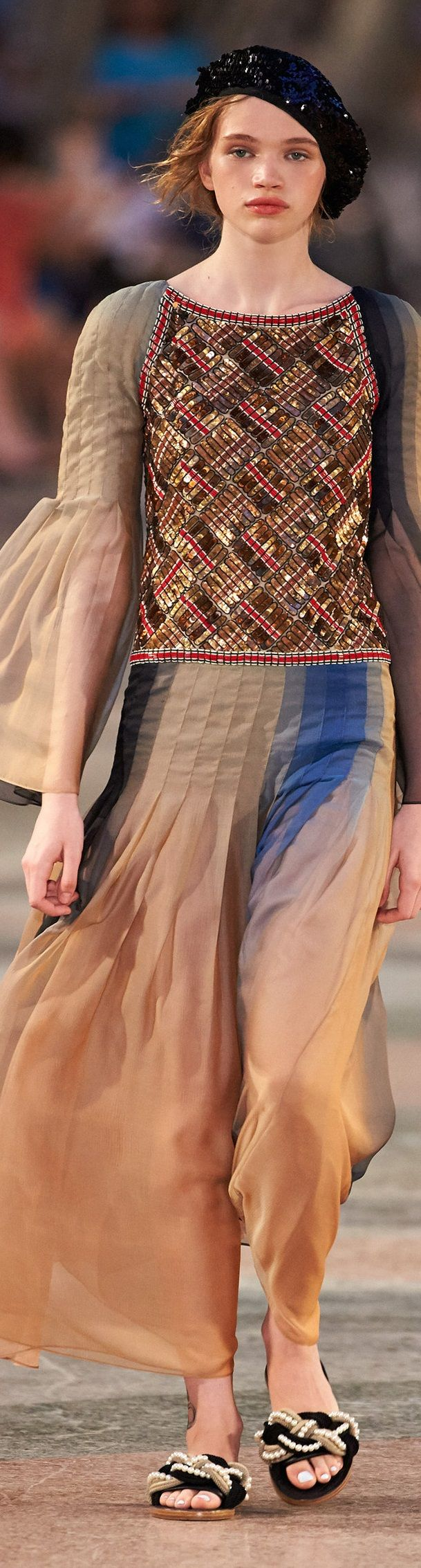 Chanel Cruise 2017, La Habana Cuba - Love the ribbon weave top and pleated skirt! Hate, Hate the shoes! Shoes are horrendous! GIve us pretty sandals!
