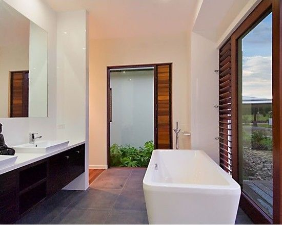 Charming Resort Design with Contemporary Look: Cozy Bathroom Floating Vanity Glass Door Pavilion House