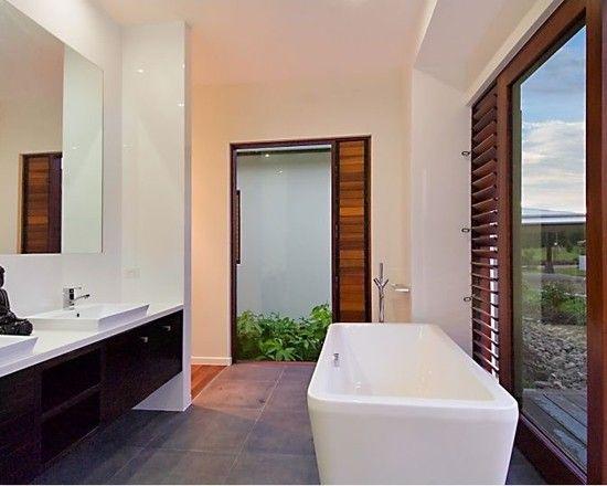 Charming Resort Design with Contemporary Look: Cozy Bathroom Floating Vanity Glass Door Pavilion House