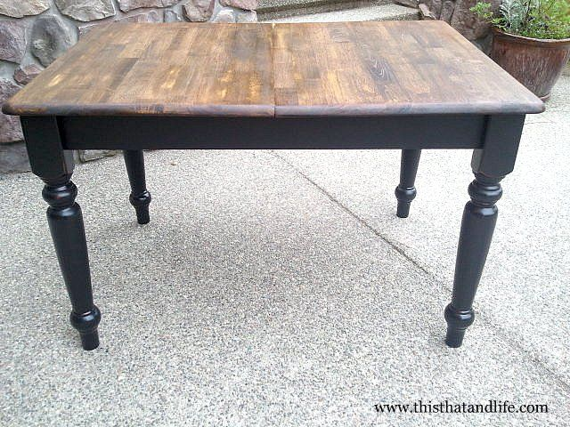 Farmhouse Table Refinished With Black Legs And Tung Oil