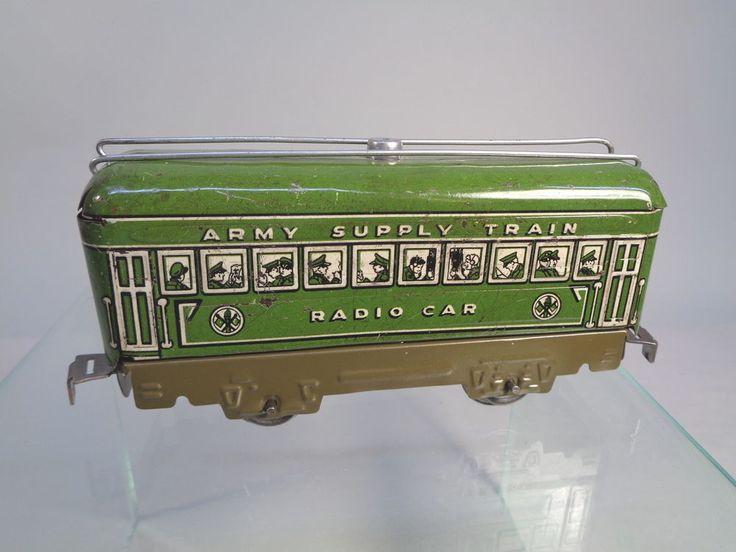 MARX 557M OD RADIO CAR ARMY SET PREWAR O-GAUGE #X3905 #Marx