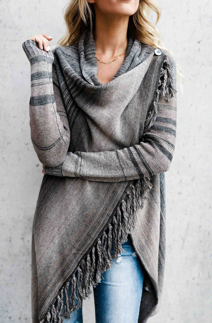 $47.99! Single Button Tassel Asymmetrical Hem Shawl Get ready for Fall fashion! Find fashionable outfits for the new season.