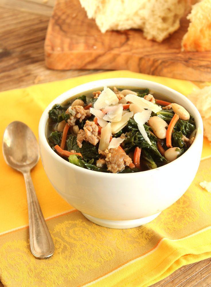 Italian Sausage, Kale, And Cannellini Bean Soup Recipe — Dishmaps