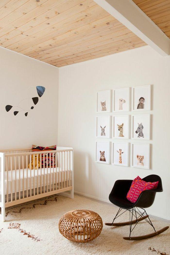 idee deco pour la chambre d'enfant et plafond en bois clair