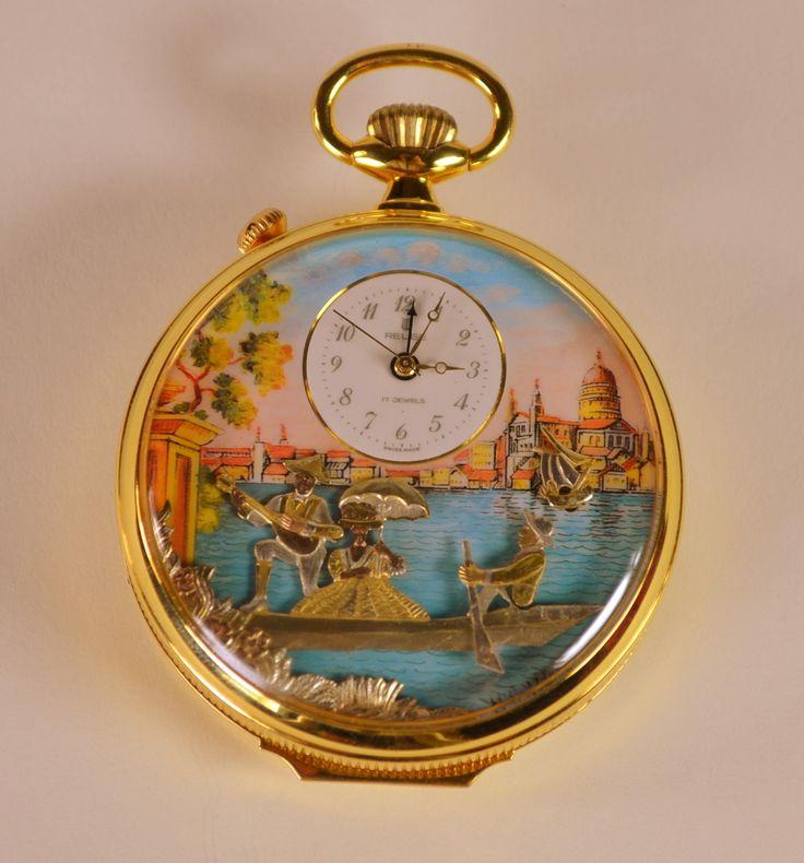 """Gondolier"" Swiss Reuge Musical Pocket Watch Music Box Automaton Clock"