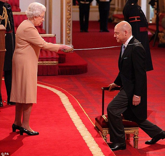 Olympic cycling coach David Brailsford received a Knighthood at The Queen's Investiture ceremony