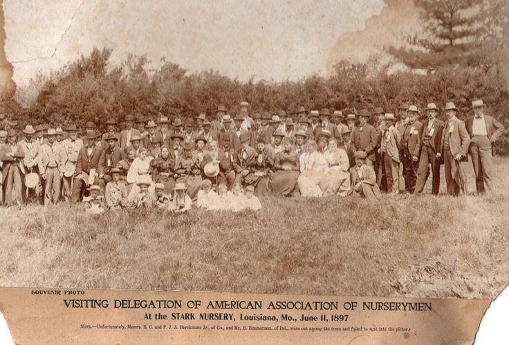 """Visiting Delegation of American Association of Nurserymen – at the Stark Nursery, Louisiana, Mo., June 11, 1897"""