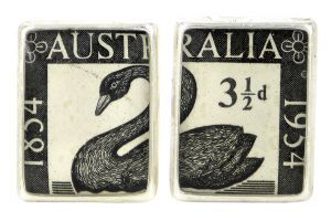 1st WA Stamp 1954 silver plate and re-purposed stamp cufflinks