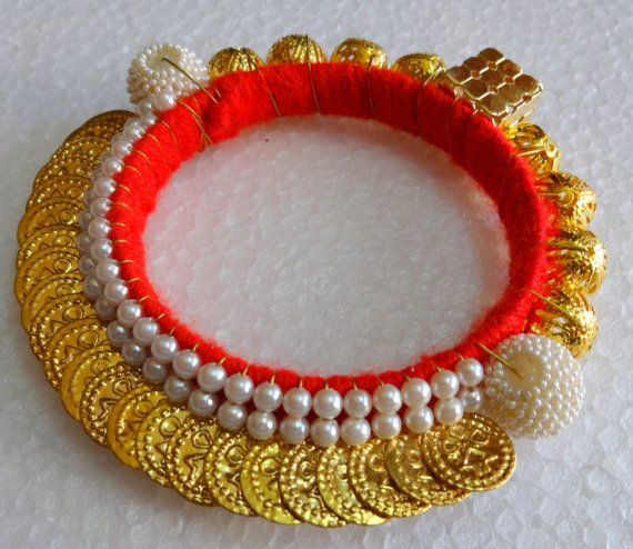 Indian Beaded Bracelet Bangle Coin and brass findings by uDazzle, $16.00