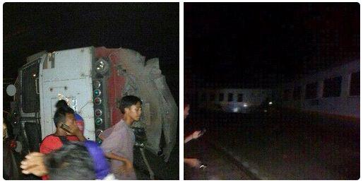 KA Bangunkarta Tabrakan dengan KA Barang di Stasiun Waruduwur, Cirebon