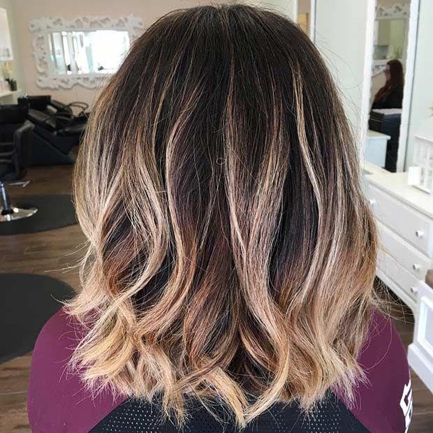 Blonde Balayage Ombre on Dark Lob Haircut