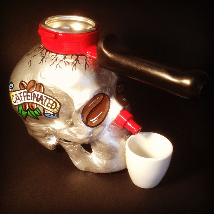 "Title - ""Caffeinated Bliss"" by SKOLLTOR. Skull sculptural art."
