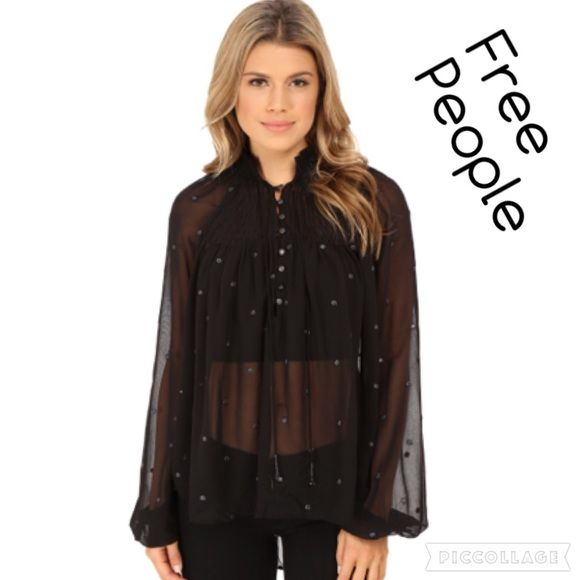 ❤️Free People Black Smock Top NWT size S❤️ ❤️Free People NWT black smock top size Small 100% polyester 20 inches in front longer in back 25 inches. ❤️ Free People Tops Blouses
