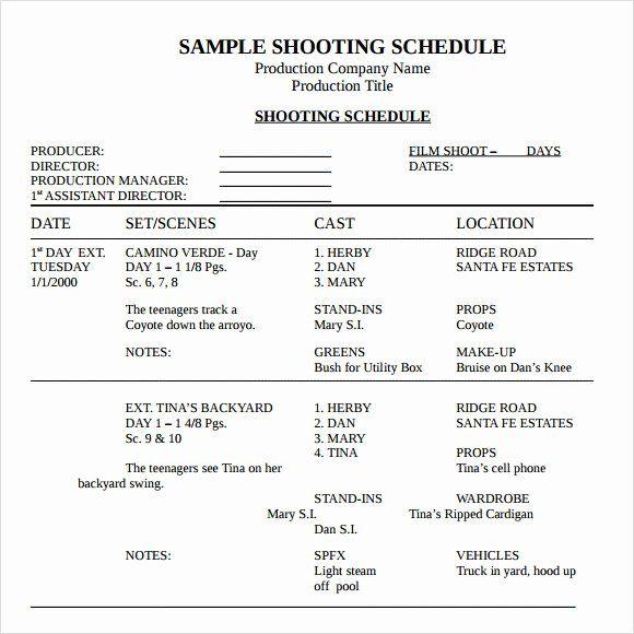 40 Film Shooting Schedule Template In 2020 Schedule Template