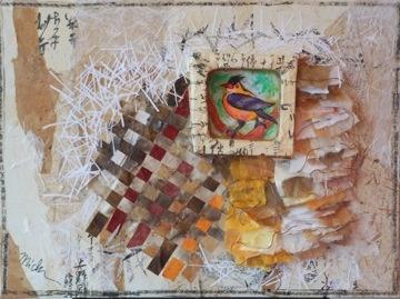 "Michi Susan     Birdsong 209-11 , 2011  Mixed Media on Canvas  18"" x 24"""