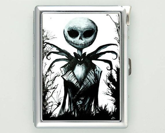 Nightmare Before Christmas Black White Cigarette Case with Lighter Wallet Business Card Holder ***********************************  We sell only case