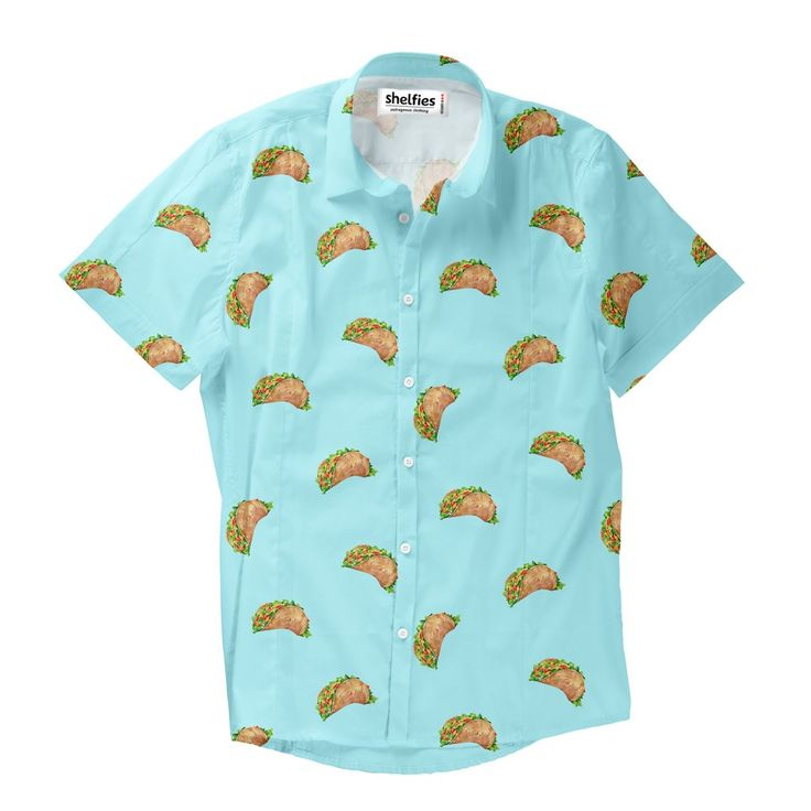 Taco Dirty To Me Short-Sleeve Button Down Shirt  Don't worry, we understand you: you're a hard shell, but every once and while you fall apart. Breathe out stress. Breathe in tacos. Feel at peace, and enjoy every last bite.