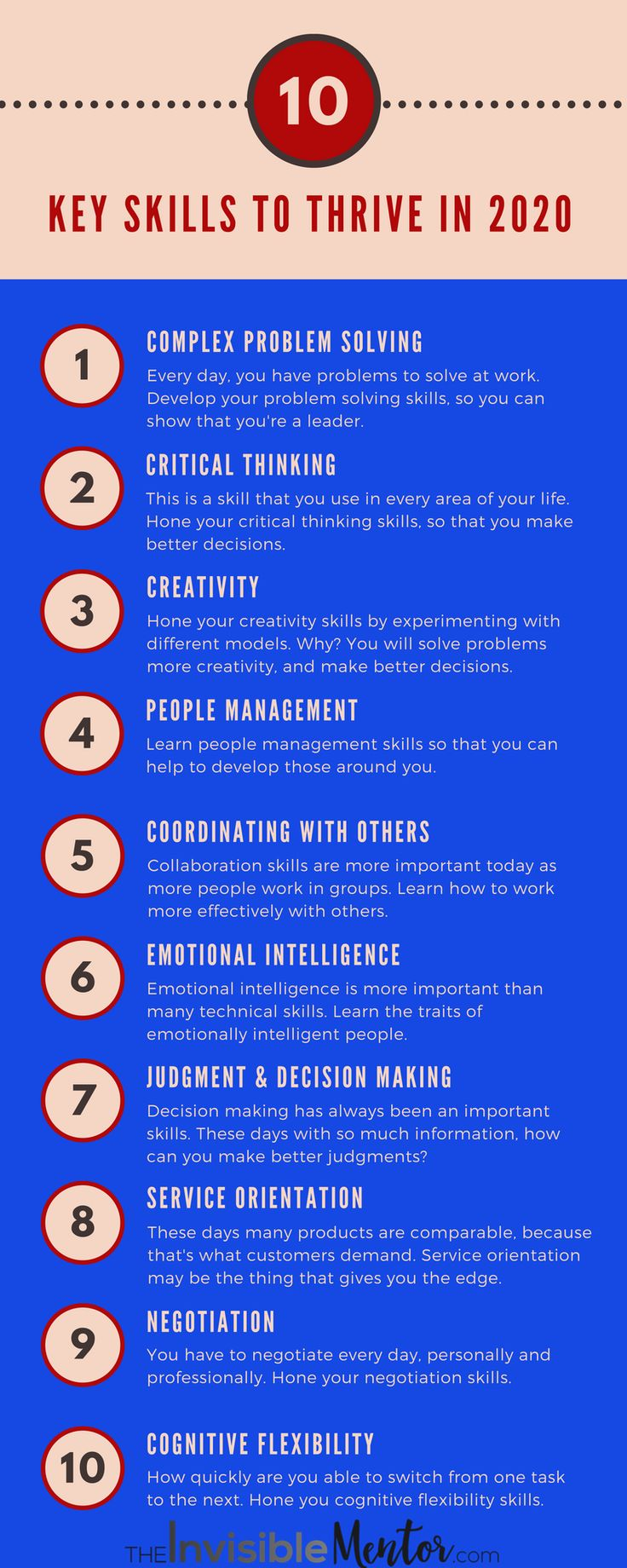 The World Economic Forum says that you need 10 key skills to thrive in 2020. How do you plan to learn the 10 skills? This infographic tells you for the 10 key employability skills are.