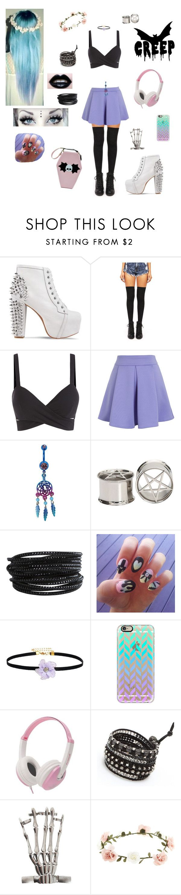 """❣☮Pastel Goth ☯☠"" by evangeline-purdy-girl ❤ liked on Polyvore featuring Jeffrey Campbell, Chicwish, Pieces, Gogo Philip, Casetify, NAKAMOL and Accessorize"