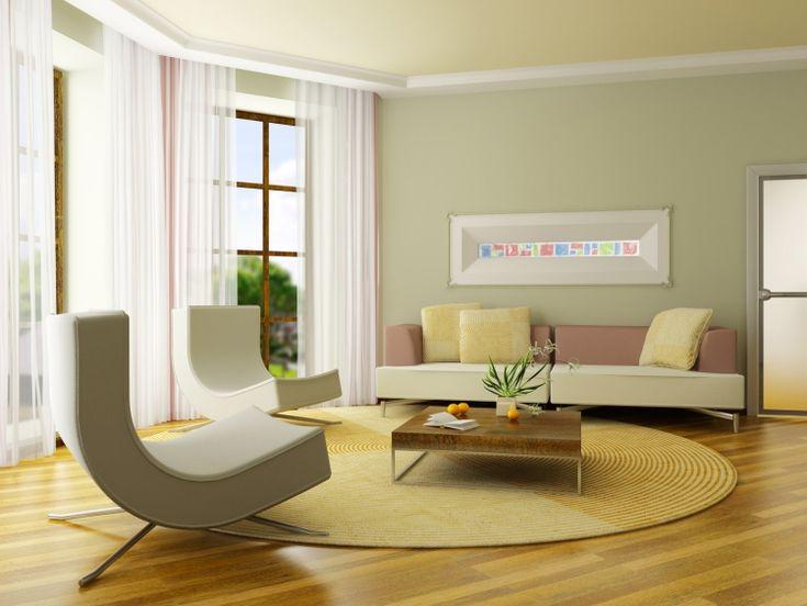 Wohnzimmer mit Polstermöbel in gelbliche Pastellfarben