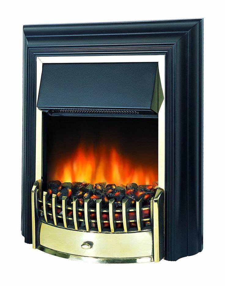 Dimplex Cheriton Freestanding Optiflame Electric Fire - Black/Brass - Real Coals