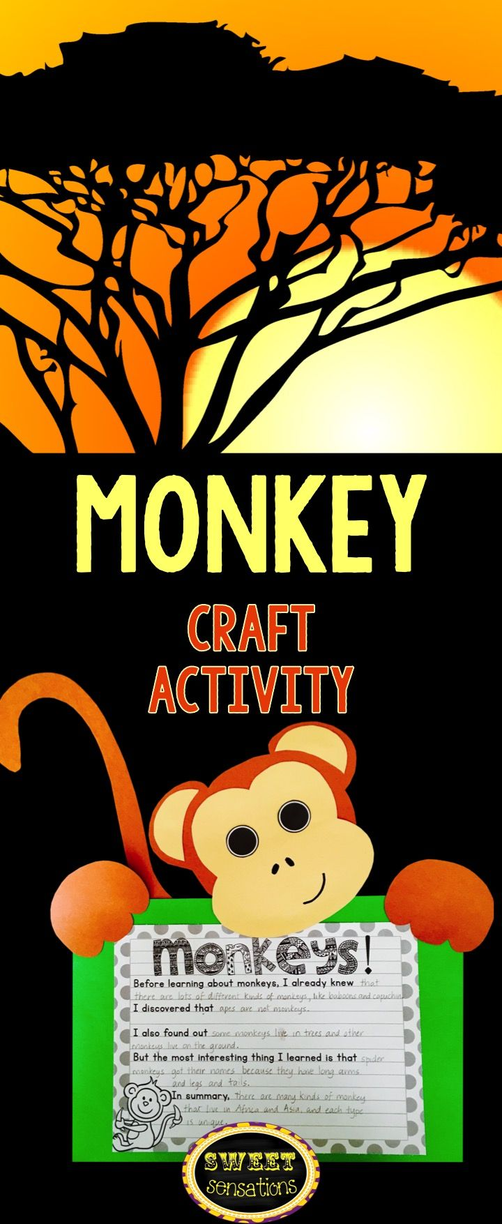 Simple monkey writing craft - cute for units on zoos and wild animals.