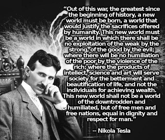 Nikola Tesla--Great War Quote
