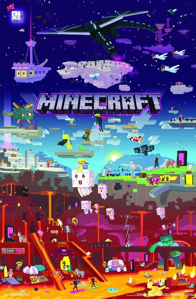 Original Minecraft 3d World Decal 22 375 X 34 Home Decor Shipped In A Tube New In 2020 Minecraft Posters Minecraft Pictures Minecraft Wallpaper