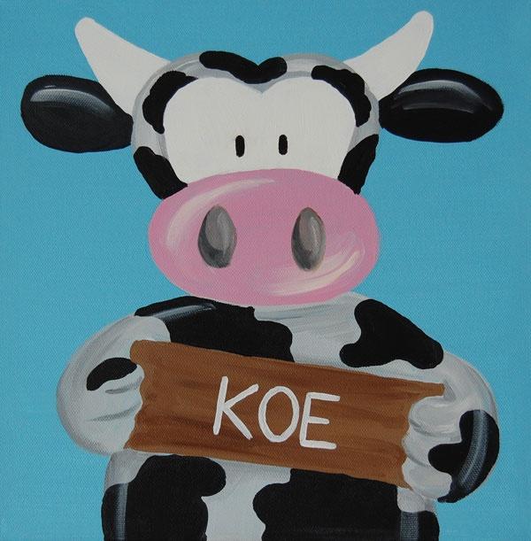Beestenboel schilderij: Koe. Bestaat uit een serie van negen schilderijen 30cm bij 30cm. Stephanie Fiseler   Unieke, vrolijke, kleurrijke schilderijen voor baby- & kinderkamers