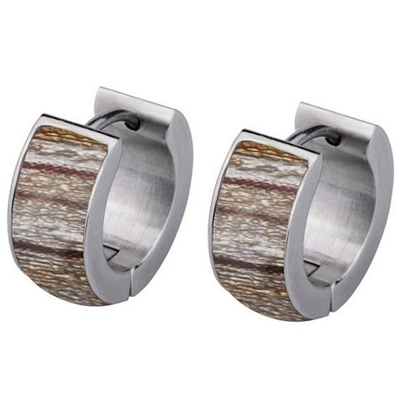 Men's Earrings with Inlaid Wood Design 6mm Wide  by BKLYNJewels