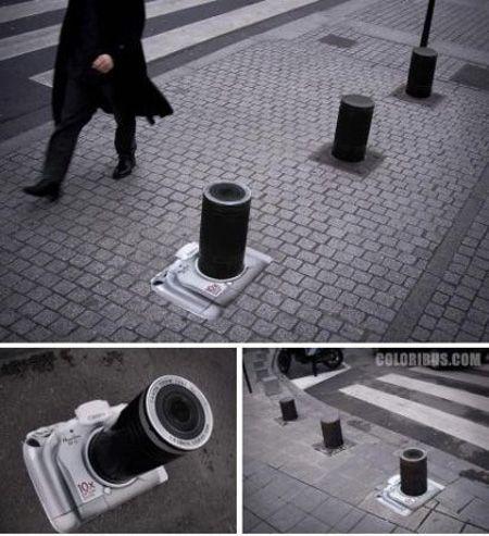 Street art canon camera advertisement