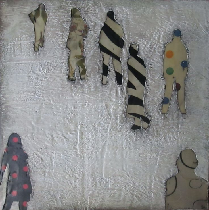 """""""A gathering of different souls """"  Encaustic medium and Mixed media on panel"""